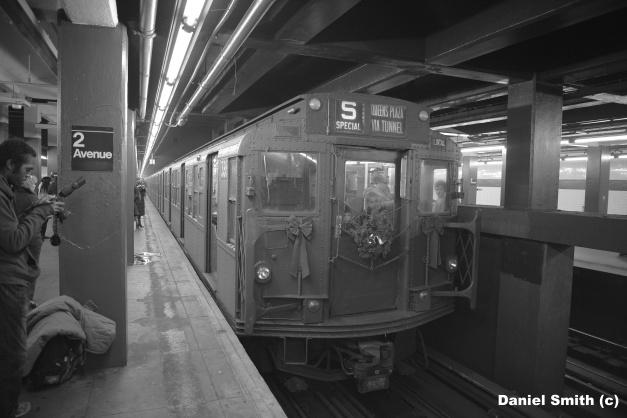 Holiday Vintage Train - 2nd Avenue (B&W)