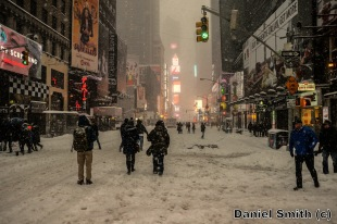 Winter Scene At Times Square