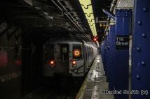 R68 D Train Leaves 116th Street (With Snow In Train Station)