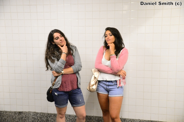 Women Posing On At Yankees Stadium - D Train Platform