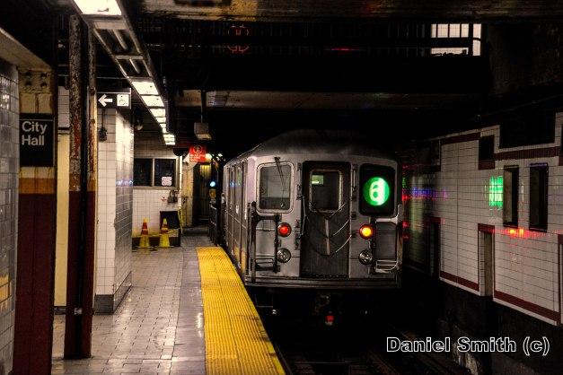 R62A 6 Train Leaves Brooklyn Bridge