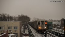 R62A 3 Train Approaching Saratoga Avenue In Winter Wonderland