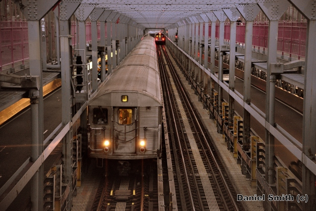 R32 J Train Passing Through The Williamsburg Bridge