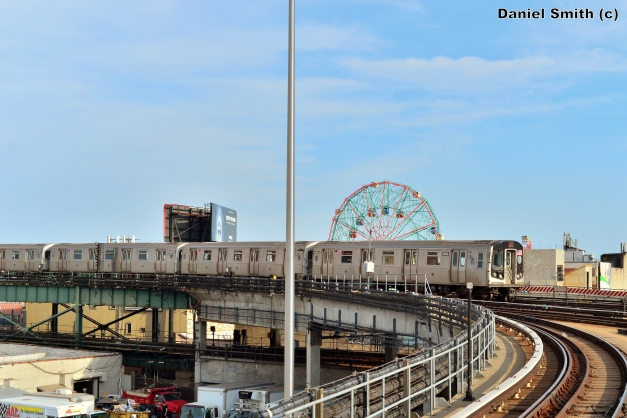 R160B Q Train Arrives Into Coney Island